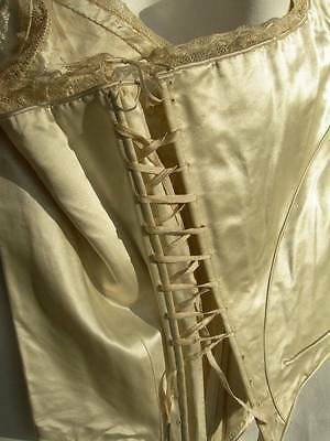 Divine antique French ivory silk wedding dress corset corsage top 1830s
