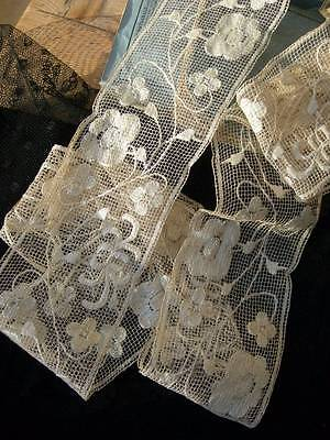 Unopened skein antique French hand embroidered filet lace - 5 metres