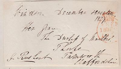 GB 1837 Free Frank Front signed  G RUSHOUT MP Evesham 3rd baron Northwick