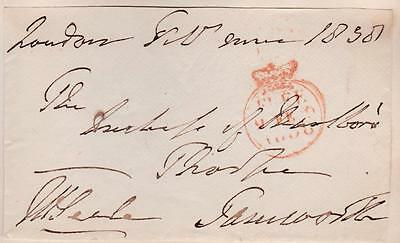 GB 1838 Free Frank Front signed J H SEALE (1st Baronet) MP Dartmouth