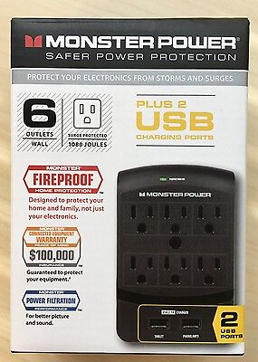 Monster - Core Power 650 6-Outlet & 2 USB ports Wall Tap Surge Protector - Black
