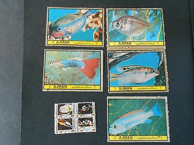 AJMAN 9 Fish Stamps [ 5 seperate and 4 together]