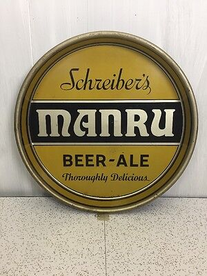"Schreibers Brewing Manru Ale Beer Tray Vintage Rare ""New York"""