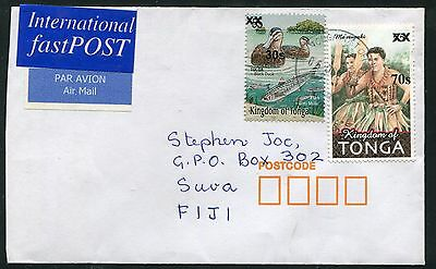 Tonga 2010 Cover, Scott 1150 1151 Surcharges Duck Dancer Used on Cover to Fiji