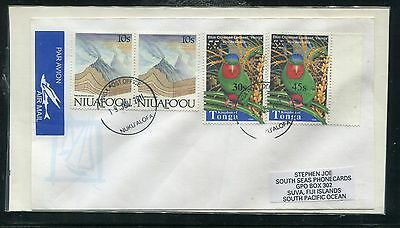 Tonga Surcharges 2010 Cover Scott 1147 1114 N111 x2 Bird Two Diff Used to Fiji