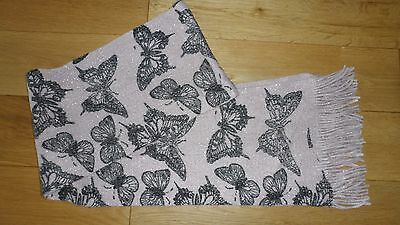 Gorgeous Girls Pink Sparkly Butterfly Tassled Scarf