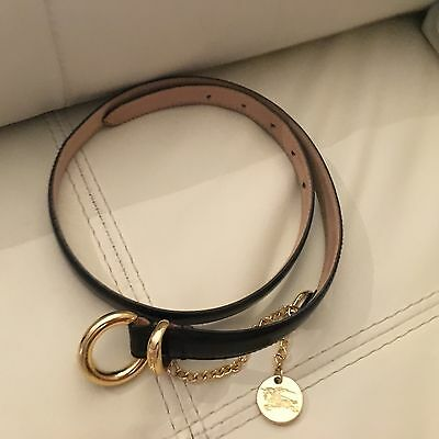 Beautiful Ladies Burberry Leather belt, Black And gold, Small