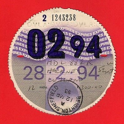 Bus Tax Disc 1994 - Yorkshire Terrier 60: MDL882R: '76 S.Vectis Leyland National