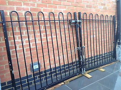 Driveway galvanised metal double gates and posts
