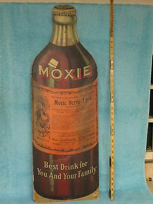 1890 MOXIE NERVE FOOD 36in Tall SODA Store COUNTER DieCut DISPLAY SIGN rare
