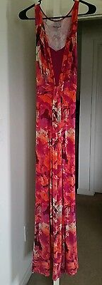 LIZ LANGE Maternity MAXI Dress-Size SMALL- Pink,Orange,Fushia (Patterned)-EEUC!