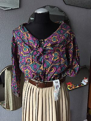 Vintage Shirt 80s Does 40's Collar, Cape Print 8 10 12
