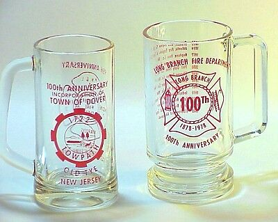 Two Fire Department Commemorative Glass mugs
