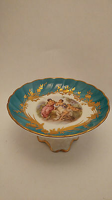Limoges France Footed Compote / Dessert Stand - Featuring Ladies and a Baby