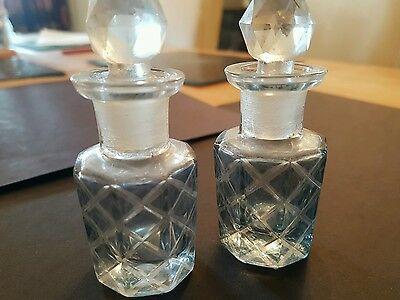 Vintage Glass Perfume Bottles Early 20th Century x 2