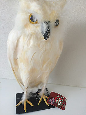 "Gothic Collection 11"" Feather Standing Owl Table Figure Halloween Creepy White"