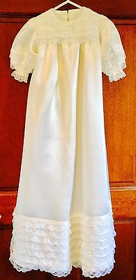 VINTAGE SATIN AND LACE CHRISTENING GOWN, 1960s or 1970s