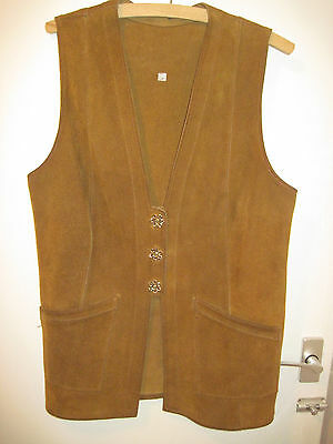 Vintage 1970's Ladies Tan Suede Fitted Waistcoat Size 38""