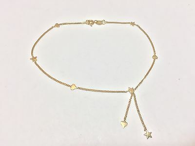 """Beautiful Unique 14k Solid Yellow Gold Stars & Hearts Anklet Bracelet 9"""" L 2.0g"""