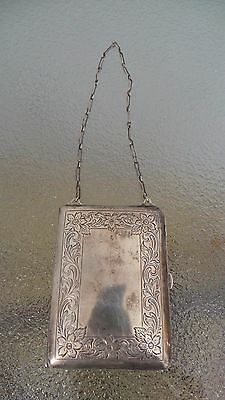 ANTIQUE Ladies Victorian Card Money Purse COIN Card Sterling Silver