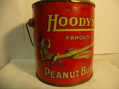 Fantastic Hoody's Peanut Butter Advertising Tin Pail Original Lid & Bail Handle