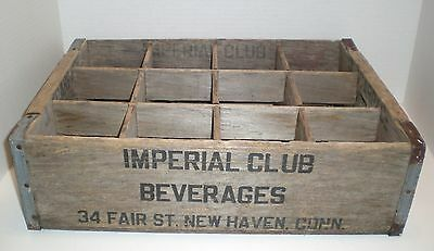 Vintage Wood 12 Bottle Soda Crate Metal Corners Dividers Imperial New Haven CT