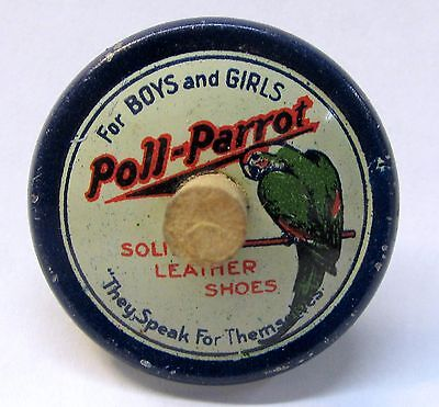 vintage POLL PARROT SHOES tin litho advertising finger spin top