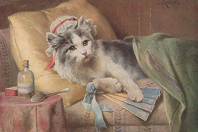 Gray & White Kitten Cat 1912 Carl Reichert Drawing  8 LARGE New Note Cards