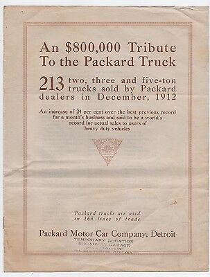 Packard Motor Car Co. Truck Publication, Lists All 213 Packards Sold In 1912.