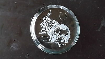 Keeshond- A beautifully engraved Glass Paperweight  by Ingrid Jonsson