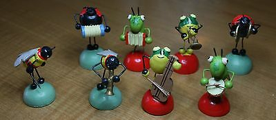 Vintage Insect musician figurines, German, unique set of 8