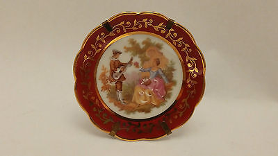 "RP Limoges France Miniature Red 2 7/8"" Plate With Stand Fragonard Scene"
