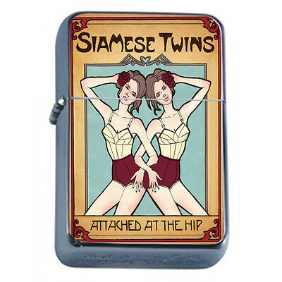 Vintage Poster D197 Windproof Dual Flame Torch Lighter Siamese Twins At The Hip