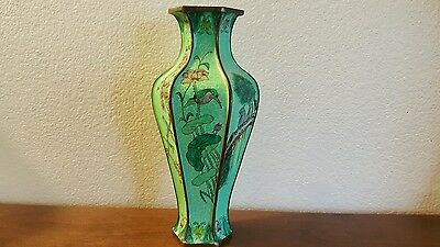 Antique Chinese Canton Enamel Vase 19thC Floral Design With Birds Cloisonne WOW!