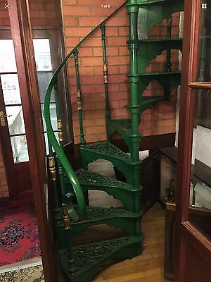 Rustic Vintage Cast Iron Green And Gold Spiral Staircase