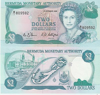 Bermuda 2 Dollars Banknote 1.10.1988 Uncirculated Condition Cat#34-D-9592