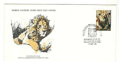 India Fdc 1976 Cat Stamps Wild Cats Wwf Lion Unaddressed India Stamps Africa