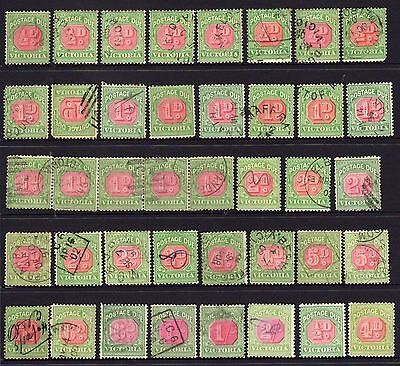 Lot of 40 Victoria 1895 - 1908 Postage Dues 1/2d - 2/-.