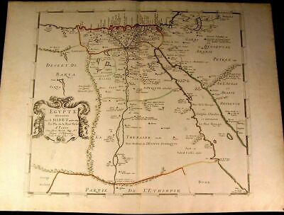 Egypt Africa Nile Arabia c.1650 antique map de la Rue & Marietta hand color
