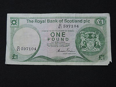 1986 £1 One Pound Sterling The Royal Bank Of Scotland Plc D/61 597104 Vg Grade