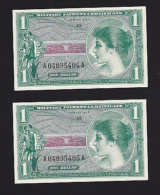 2 Consecutive $1 Series 651 Military Payment Certificate - Unc.