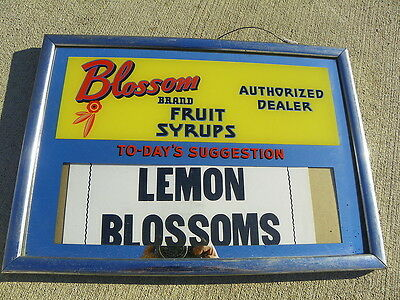 Blossom Fruit Syrups Dealer Reverse Glass Sign