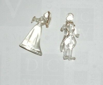 Bride and Groom Glass Figurines with Gold Detail From 2000 2 inch
