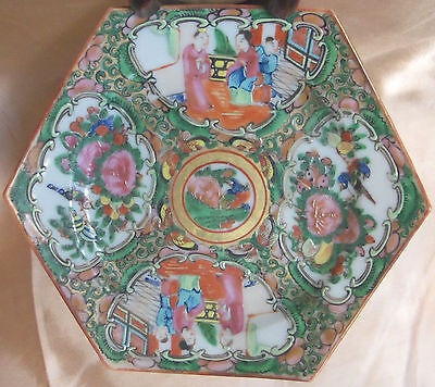 Chinese Rose Medallion Saucer 19th Century Six Sided G
