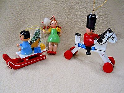 3 Vintage  wooden Christmas ornaments / Girl & Baby/Soldier & horse/Sled