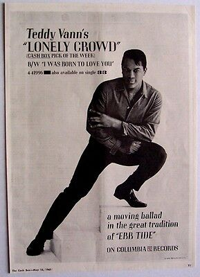 TEDDY VANN 1961 Poster Ad LONELY CROWD