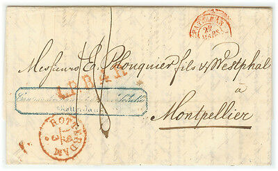 Lettre Hollande - 1842 Rotterdam à Montpellier (FR) XF - Fresh cover