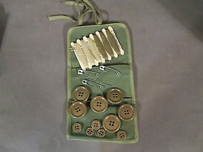 Wwii Us Army Field Gear Sewing Kit Buttons Thread Pins Wrap Tie