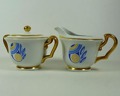 Creamer Sugar Bowl with Lid Blue Gold Vintage Signed E Waddington Smith