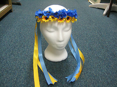 Ukrainian Traditional Vinok, Blue & Yellow Flowers with Ribbons - New!